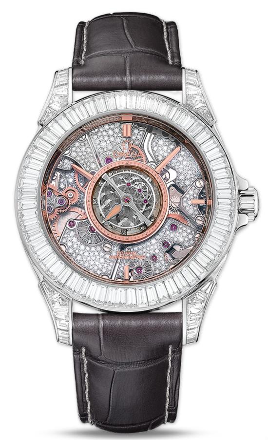 UK Omega De Ville Tourbillon Grey Strap Copy Watches
