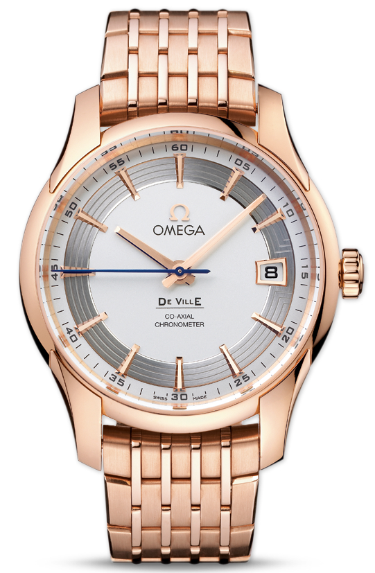 Omega De Ville Hour Vision Silver Dial Red Gold Watch_