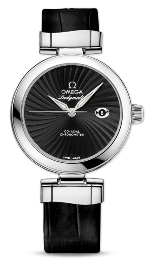UK Omega De Ville Ladymatic Black Dial Fake Watches