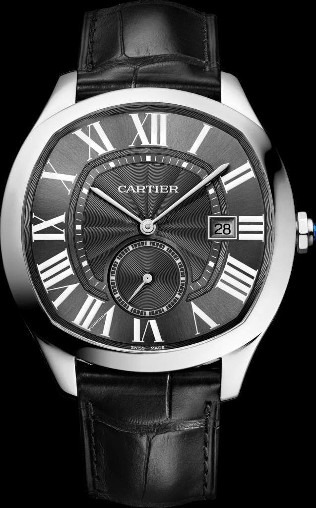 Black Leather Straps Copy Drive De Cartier Watches