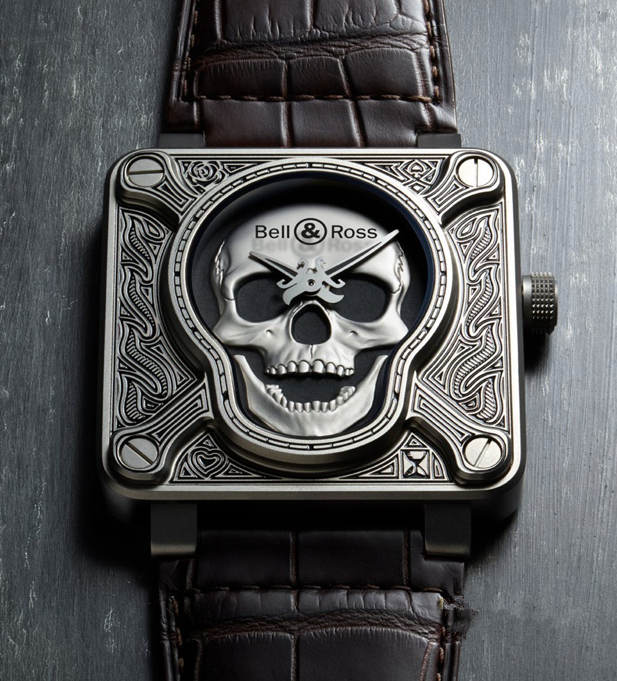 Bell & Ross BR 01 Burning Skull Replica Watches With Silver Dials