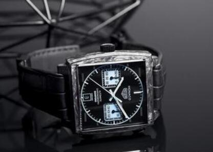 The water blue - black toned TAG Heuer looks distinctive and futuristic.