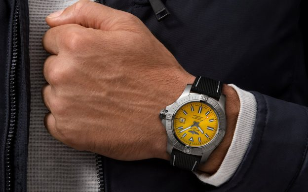 The 45 mm fake watch has yellow dial.
