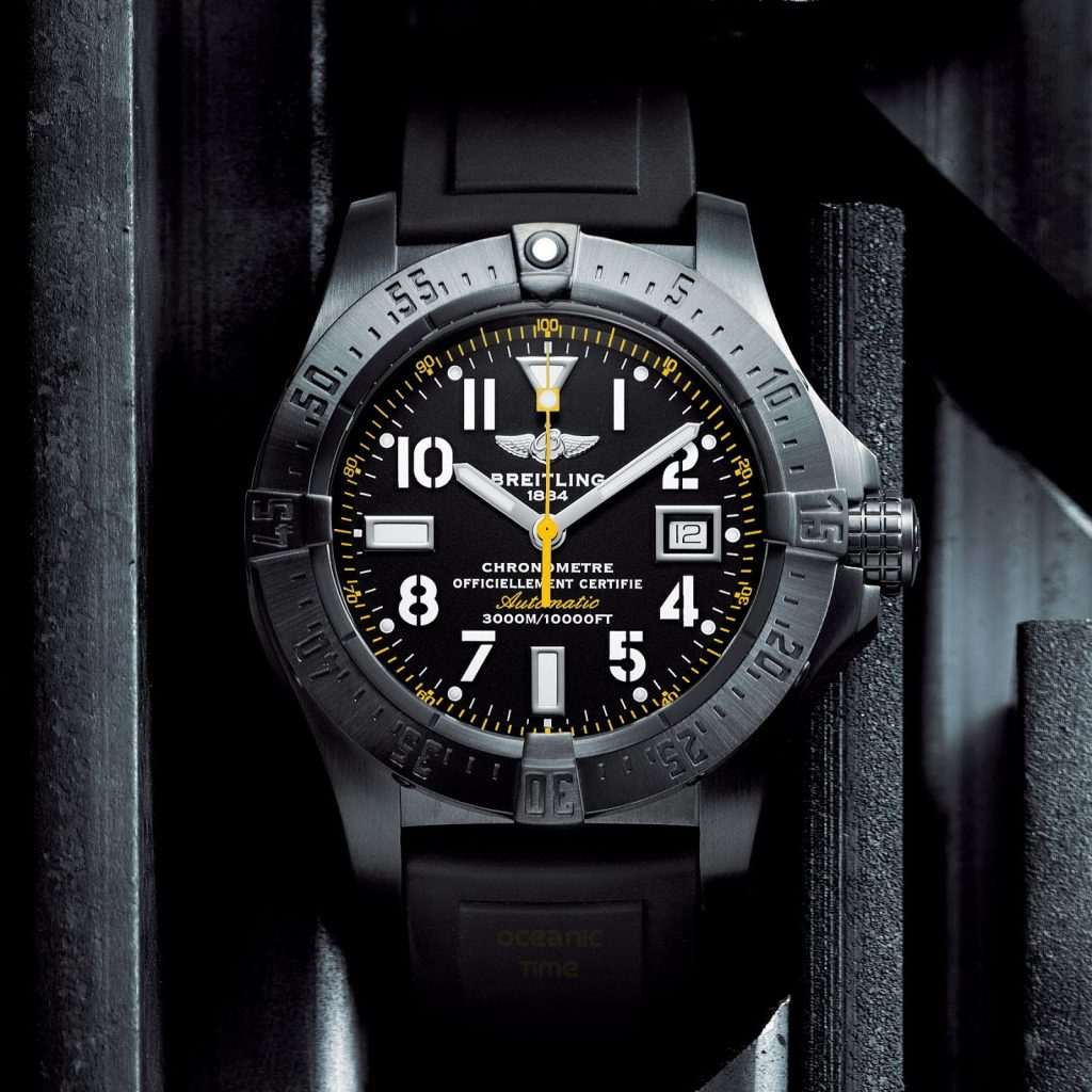The water resistant fake watch has black dial.